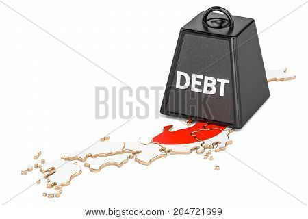 Japanese national debt or budget deficit financial crisis concept 3D rendering