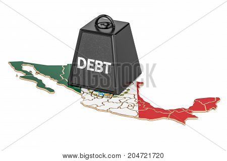Mexican national debt or budget deficit financial crisis concept 3D rendering