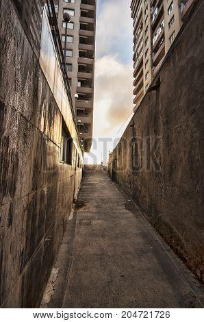 End Of The Tunnel. Street Like Tunnel In Azerbaijan Baku