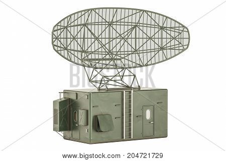 Military Radar 3D rendering isolated on white background