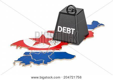 North Korea national debt or budget deficit financial crisis concept 3D rendering