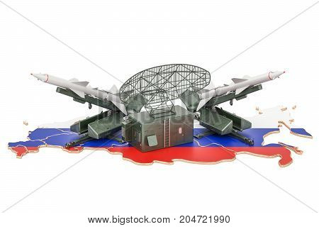 Russian missile defence system concept 3D rendering