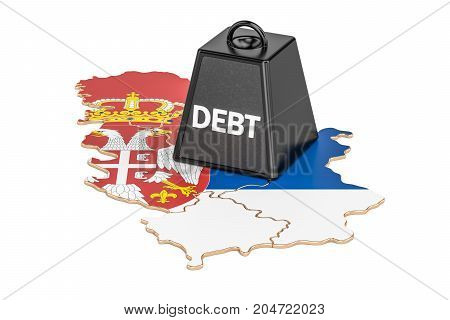 Serbian national debt or budget deficit financial crisis concept 3D rendering