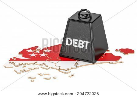 Singapore national debt or budget deficit financial crisis concept 3D rendering