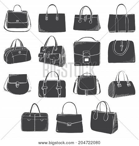 Set of different bags men women and unisex. Bags isolated on white background. Vector illustration in sketch style.