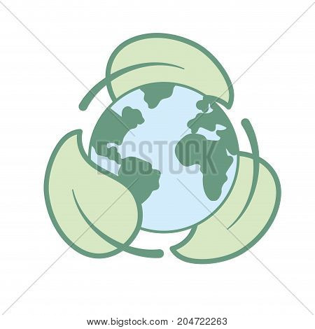 earth planet with ecological leaves design vector illustration