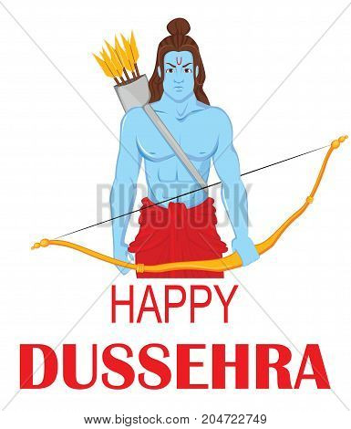 Lord Rama with bow and arrows for Dussehra Navratri festival of India. Vector illustration on white background.