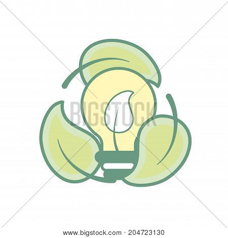 nice bulb with leaf inside and leaves around vector illustration
