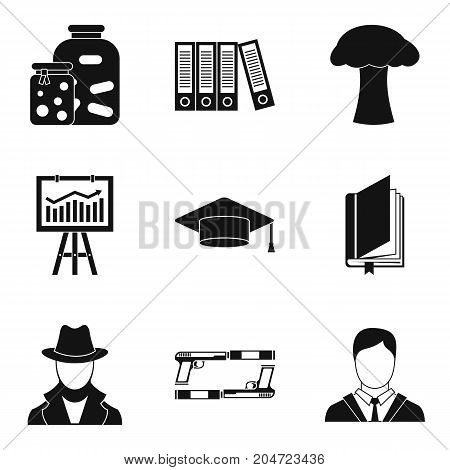 Important document icons set. Simple set of 9 important document vector icons for web isolated on white background