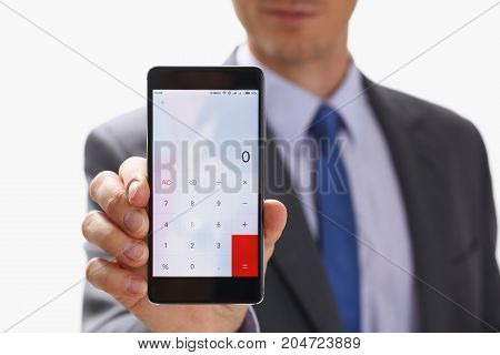 Businessman Holding Smartphone In Hand Calculator