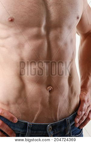 Strong Men's Press Thanks To Diet And Constant Training