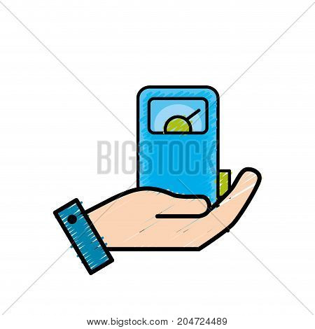 hand with gas machine to environment care vector illustration