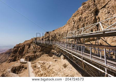 Cable car arriving to the top of Masada National Park