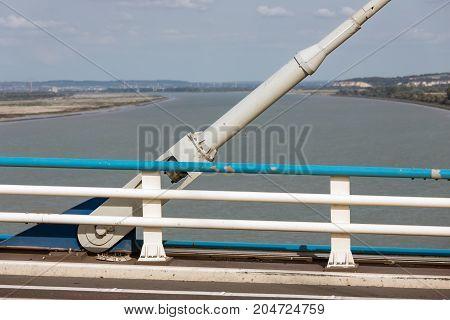 Construction detail of cable foundation Pont de Normandie in France