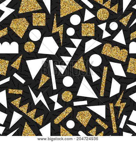 Gold Glitter Abstract Geometry Seamless Pattern