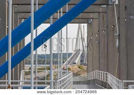 Footpath over toll road to Pont de Normandie in France