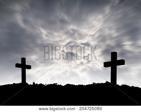 grave, silhouette of two cross on hill top with motion dark storm clouds on dramatic sky background