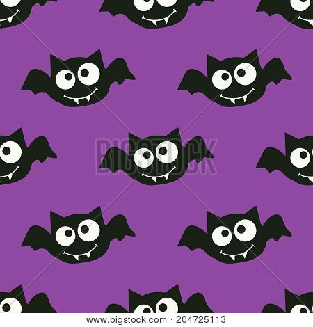 pattern with bat cartoon monster seamless pattern halloween with bats flying in the violet sky