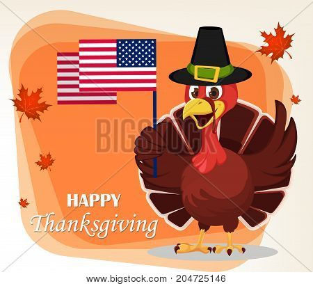 Thanksgiving greeting card with a turkey bird wearing a Pilgrim hat and holding USA flag. Funny cartoon character for holiday. Vector illustration with maple leaves on background.