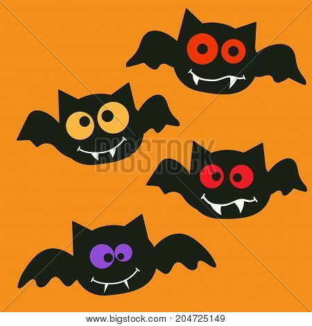 cartoon bats cartoon illustration of a halloween vampire bat with different colorful eyes