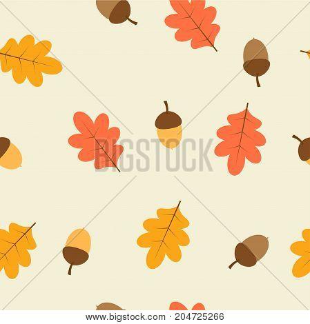oak leaves and acorn seamless pattern orange and red oak leaves and acorns