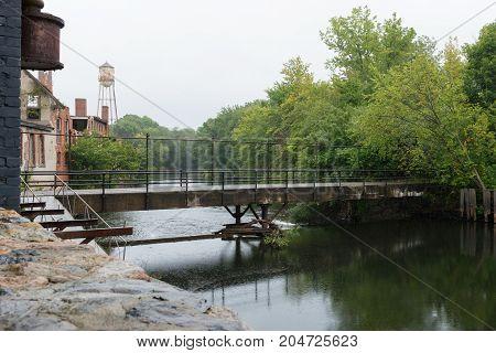 Footbrige across the Pawtuxet River Warwick Rhode Island