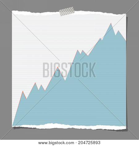 Bull market chart symbol on ripped note paper, vector illustration