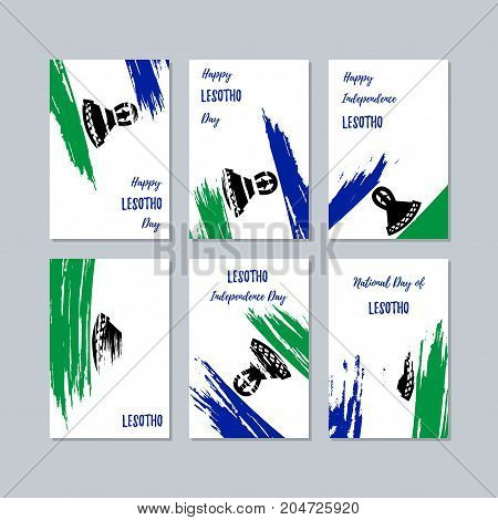 Lesotho Patriotic Cards For National Day. Expressive Brush Stroke In National Flag Colors On White C