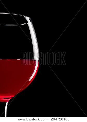 Elegant Silhouette Glass Of Red Wine On Black Background