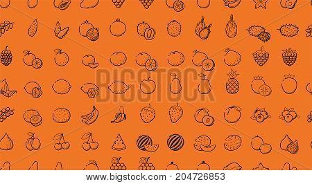 Outline Black linear web icon set - Fruit berries Thin bold Line food Icons For logo modern minimalistic label Orange grape apple blueberry lime lemon cherry fig mango tropic collection on orange