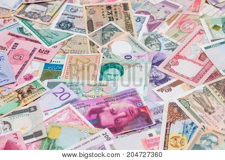World Paper Money As Background. Close Up