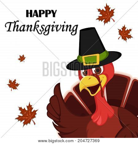 Thanksgiving greeting card with a turkey bird wearing a Pilgrim hat. Funny cartoon character for holiday. Vector illustration with maple leaves on background.