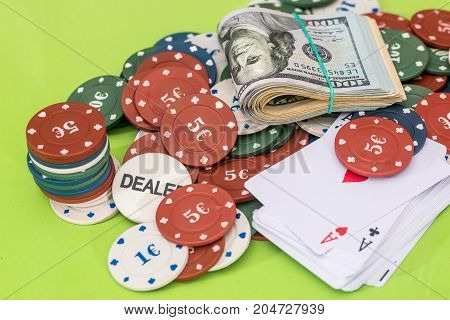 Poker Combination - Chips, Card, Dollar Isolated On Green