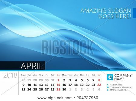 Desk Line Calendar For 2018 Year. April. Vector Design Print Template With Abstract Background. Week