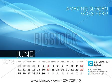 Desk Line Calendar For 2018 Year. June. Vector Design Print Template With Abstract Background. Week