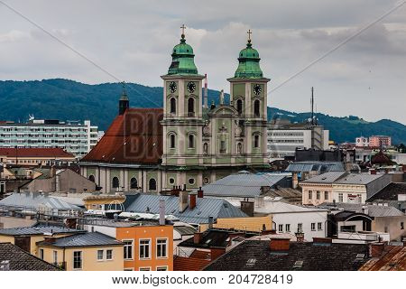 A cityscape of Linz with Alter Dom (Old Cathedral)