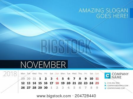 Desk Line Calendar For 2018 Year. November. Vector Design Print Template With Abstract Background. W