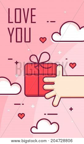 Vector background with hand and gift box. Thin line flat design banner for Valentine's day.