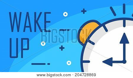 Wake up poster with clock face. Thin line flat design. Vector good morning background.
