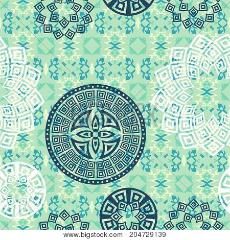 Flower Mandala seamless pattern background. Oriental pattern, vintage decorative elements. Islam, Arabic, Indian, moroccan, turkish, ottoman motifs. Blue and white colors. Vector illustration