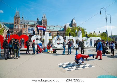 Youth Break Dancing On City Streets. Street Festival Breakdance. Amsterdam, Netherlands.
