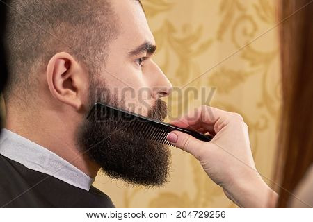 Hand with comb brushing beard. Customer of barber shop.