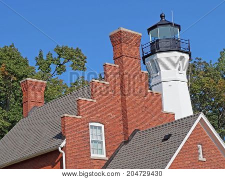 The Port Sanilac Light Station was built in 1886 on the Lake Huron shore. Its dwelling place and grounds were sold at a government auction in 1928 and have been privately owned ever since. The octagonal tower was restored in 2015-16.
