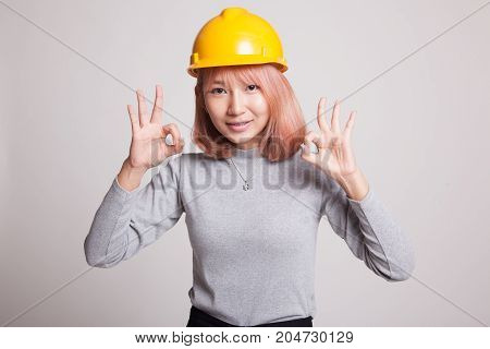 Asian Engineer Woman Show Ok With Both Hands.