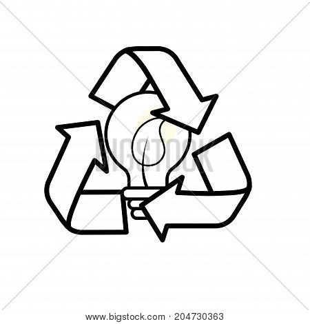 line pretty environment symbol and bulb with leaf inside vector illustration
