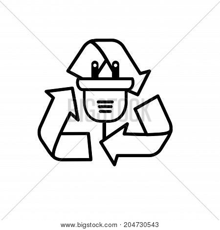 line power cable with environment symbol to care vector illustration