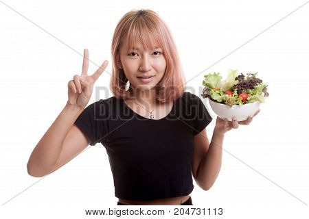 Healthy Asian Woman Show Victory Sign With Salad.