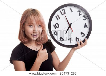 Young Asian Woman Thumbs Up With A Clock.