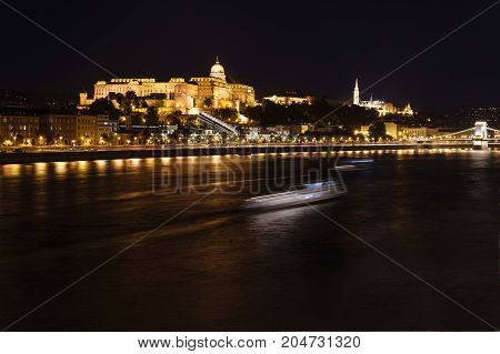 Night shot of the Danube and the Buda Castlel in Budapest, Hungary.