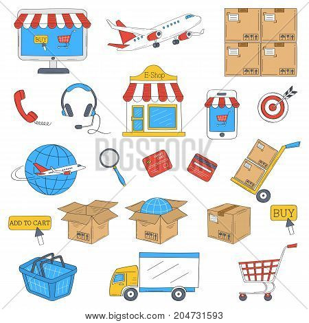E-commerce and online shopping hand drawn icons set, vector illustration. Shopping, delivery and customer support symbols, computer screen, e-shop, shopping cart, delivery truck.